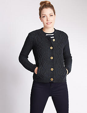 Cable Knit Button Through Cardigan, NAVY, catlanding