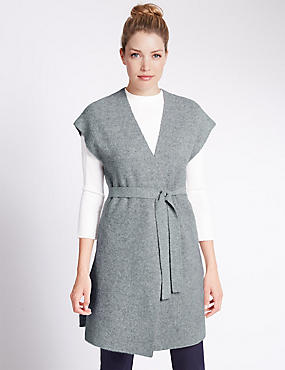 Loose Fit Sleeveless Cardigan, SILVER GREY, catlanding