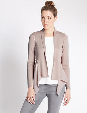Open Front Waterfall Cardigan, DUSTED PINK, catlanding