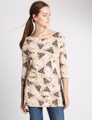 Туника с цветами и разрезами сбоку M&S Collection T417224J