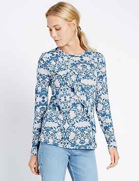 Paisley Floral Print Ruffle Jersey Top, WHITE MIX, catlanding