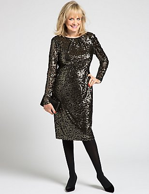 Sequin Long Sleeve Bodycon Dress, GOLD MIX, catlanding