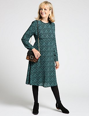 Printed Long Sleeve Fit & Flare Dress, GREEN MIX, catlanding