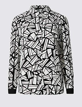 PETITE Geometric Print Shirt, BURGUNDY MIX, catlanding