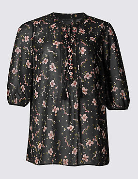 PLUS Floral Print Tunic, BLACK MIX, catlanding