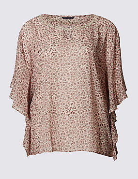PLUS Half Sleeve Floral Print Shell Top, PALE PINK MIX, catlanding