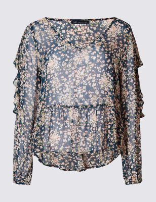 Прозрачная струящаяся блузка с V-горловиной и мелким цветочным рисунком