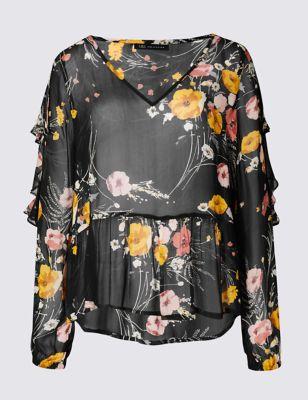 Прозрачная струящаяся блузка с V-горловиной