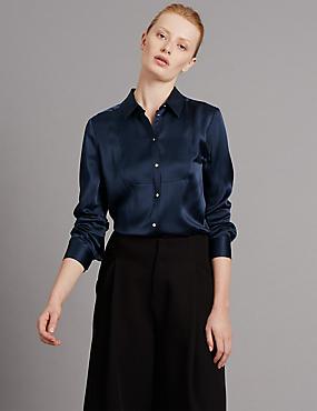 Silk Long Sleeve Blouse, NAVY, catlanding