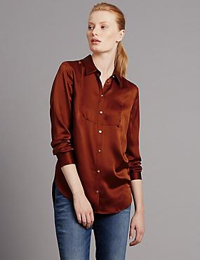 Silk Long Sleeve Blouse, RUSSET, catlanding