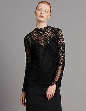 Lace Top, BLACK, catlanding