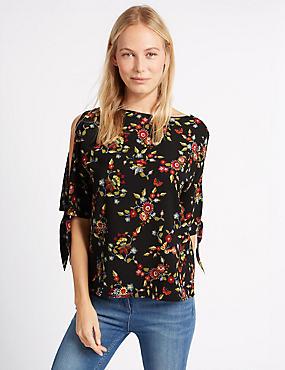 Cold Shoulder Embroidered Floral Blouse, BLACK MIX, catlanding