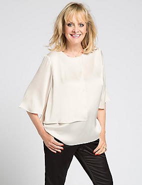 Twiggy 3/4 Sleeve Double Layer Blouse, IVORY, catlanding