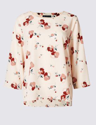 Свободный струящийся топ навыпуск с цветами от Marks & Spencer