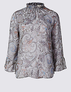 High Neck Paisley Print Blouse, BLUE MIX, catlanding