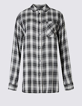 Loose Fit Checked Shirt with Buttonsafe™, BLACK MIX, catlanding