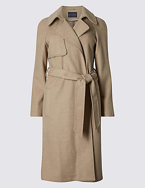 PETITE Long Sleeve Trench Coat with Wool, OATMEAL, catlanding