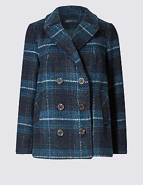 PETITE Long Sleeve Peacoat with Wool, NAVY MIX, catlanding