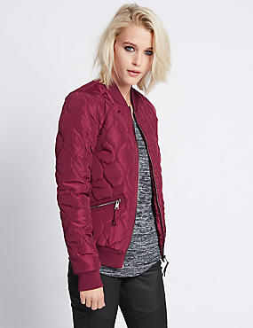 Tailored Fit Quilted Bomber Jacket, BURGUNDY, catlanding