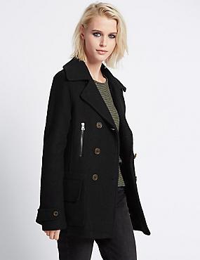 Long Sleeve Peacoat with Wool, BLACK, catlanding