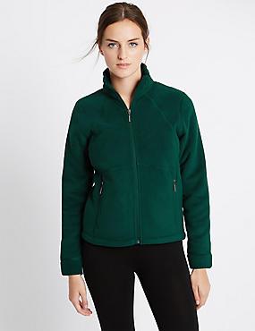 Bonded Fleece 2 Pocket Jacket, DARK BOTTLE, catlanding