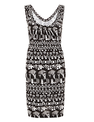 Mono Print Vest Dress Clothing