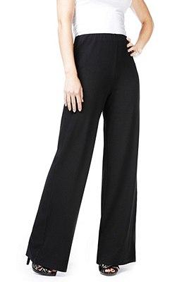 Wide Leg Trousers, BLACK, catlanding