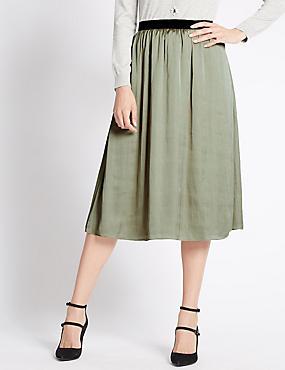 Pleated Satin A-Line Skirt, KHAKI, catlanding