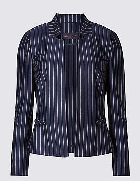 PETITE Pinstriped Long Sleeve Jacket, NAVY MIX, catlanding
