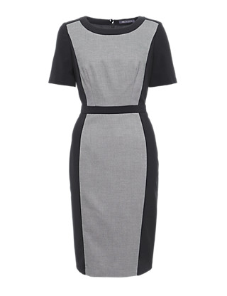 Contrast Panelled Shift Dress Clothing