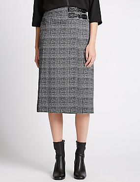 Pleated Kilt A-Line Midi Skirt, BLACK MIX, catlanding
