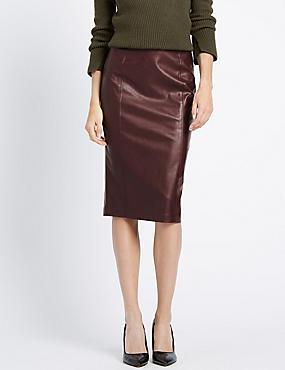 Slim Fit Faux Leather Pencil Skirt, BERRY, catlanding