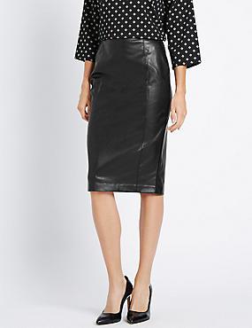 Slim Fit Faux Leather Pencil Skirt, BLACK, catlanding