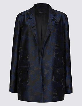 Jacquard Long Sleeve Jacket, NAVY MIX, catlanding