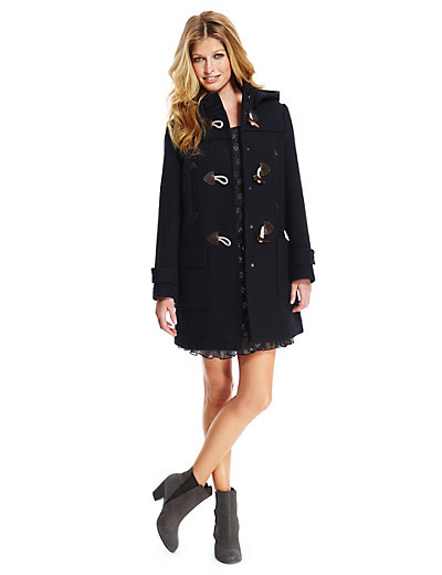 Detachable Hood Long Duffle Coat with Wool | M&ampS