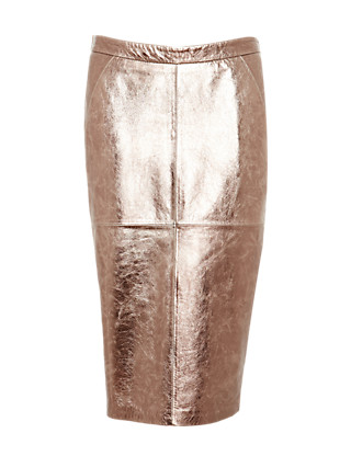 Leather Metallic Effect Pencil Skirt Clothing
