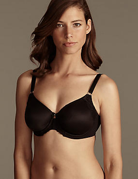 Fleur Lace Smoothing Underwired Non-Padded Full Cup Bra DD-G, BLACK, catlanding