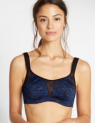 High Impact Flexi Wired Non Padded Full Cup Bra A-G, DARK BLUE MIX, catlanding