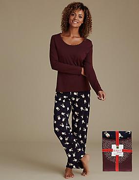 Pure Cotton Reindeer Print Pyjamas, NAVY MIX, catlanding