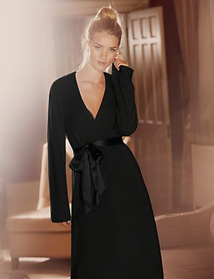 Luxurious Pure Cashmere Long Dressing Gown, BLACK, catlanding