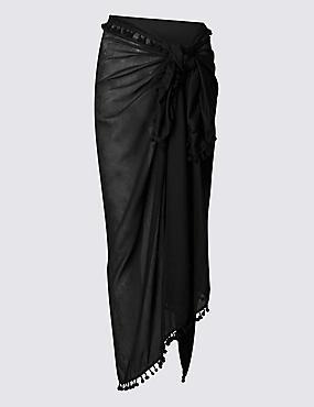 Waist Tie Sarong, BLACK, catlanding