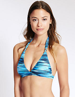 Ripple Stripe Halterneck Bikini Top, BLUE MIX, catlanding