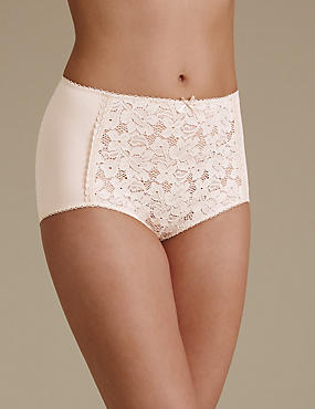 Cotton Blend Front Lace Full Briefs, ALMOND, catlanding