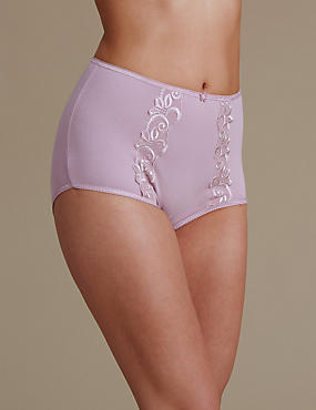 Cotton Rich Embroidered High Rise Full Briefs, SOFT PINK, catlanding