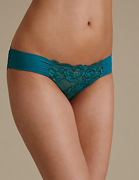 Rio Sweetheart All Over Lace Low Rise Bikini Knickers, TURQUOISE MIX, catlanding
