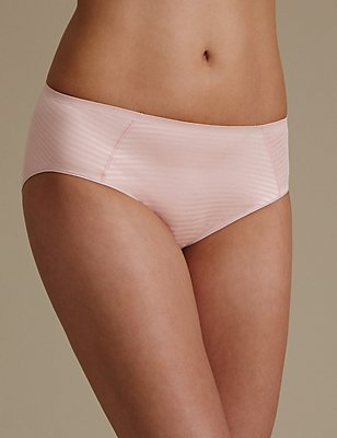 Sumptuously Soft Pinstriped No VPL High Leg Knickers, SOFT PINK, catlanding
