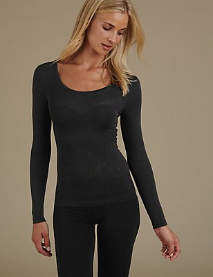 Heatgen™ Sparkle Effect Long Sleeve Thermal Top, BLACK/GOLD, catlanding