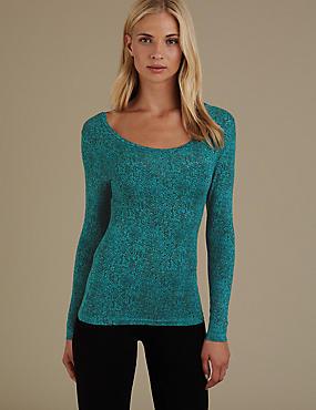 Heatgen™ Long Sleeve Thermal Vest Top, TEAL, catlanding