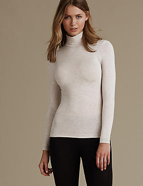 Heatgen™ Thermal Polo Neck Top, OATMEAL MIX, catlanding