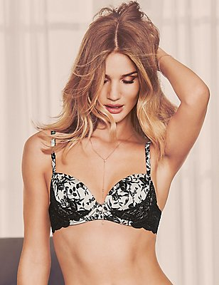 Silk & Lace Print Padded Balcony Bra A- E, BLACK MIX, catlanding